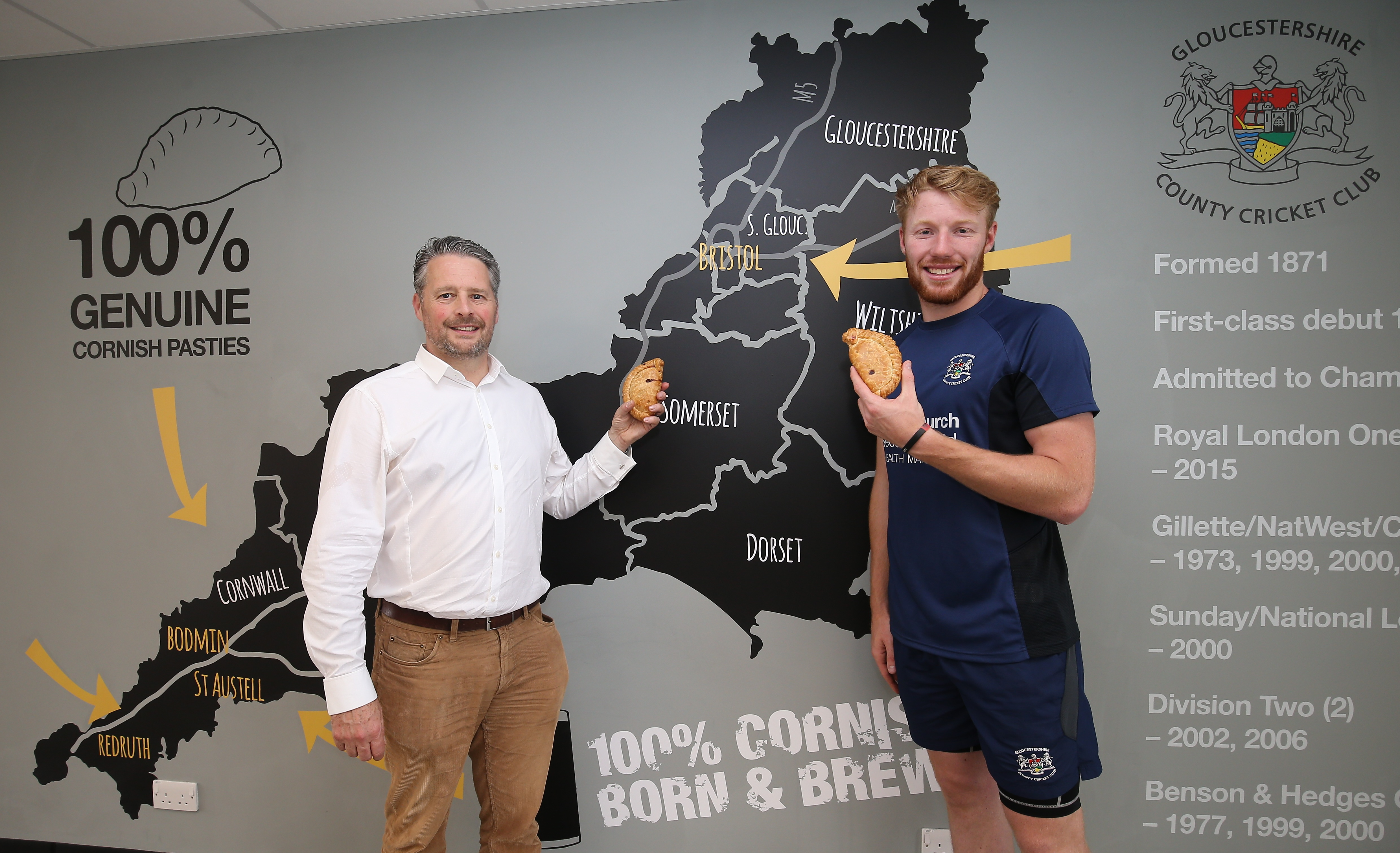 Proper Cornish Pasties sponsor new bar at home of Glos CCC Brightside Cricket Ground , Bristol